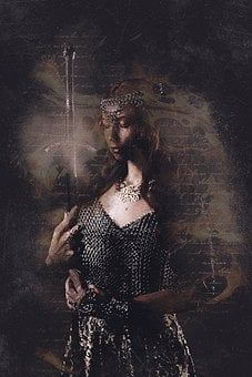 Woman, Armor, Portrait, Sword, Chain Mail, Girl