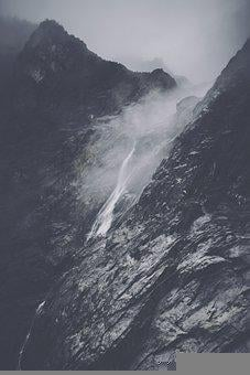 Mountains, Waterfall, Rocks, Stones, Wilderness, Clouds