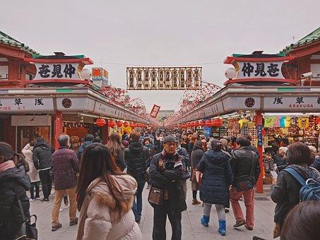Sensoji Temple, Crowd, Tourists, Temple