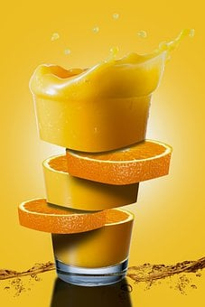 Juice, Orange, Sliced, Cut, Segments, Glass, Drink