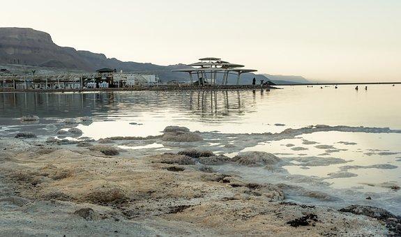 Dead Sea, Salt, Coast, Sunset, Dusk, Evening, Coastline