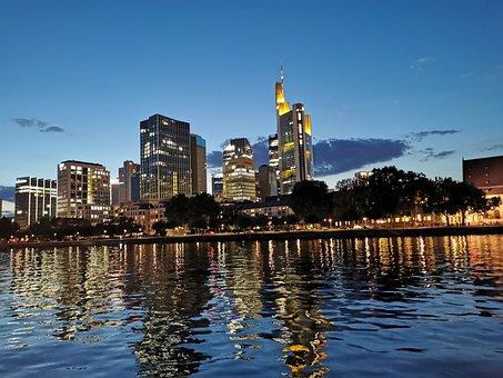 Frankfurt, Skyline, River, Lights, Evening, Twilight