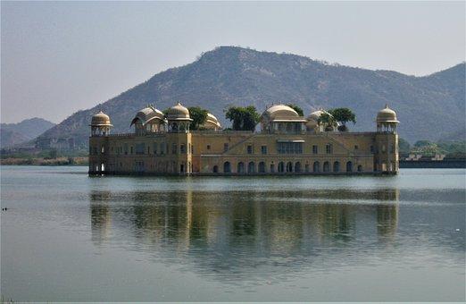 Palace, Lake, India, Jaipur, Landmark, Architecture