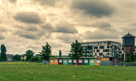 Field, Buildings, Karlsruhe, City, Meadow, Apartments