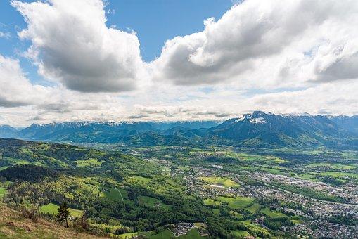 Mountains, City, Salzburg, Panorama, Valley