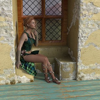 Woman, Sitting, Window, Female, Niche, Bay Window