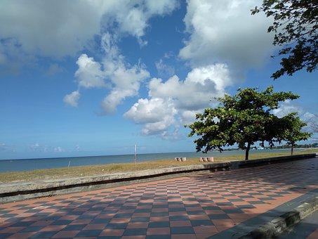 Coast, Pavement, Beach, Resort, Sea, Ocean, Horizon