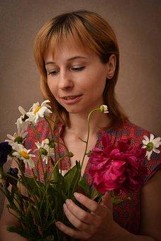 Flowers, Bouquet, Portrait, Girl, Person, People