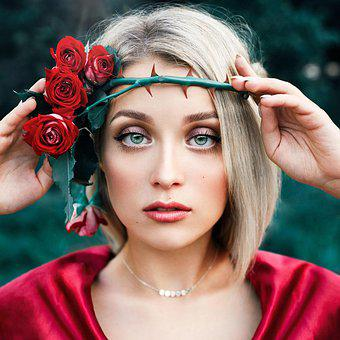 Woman, Model, Roses, Wreath, Crown, Spikes, Eyes, Lips