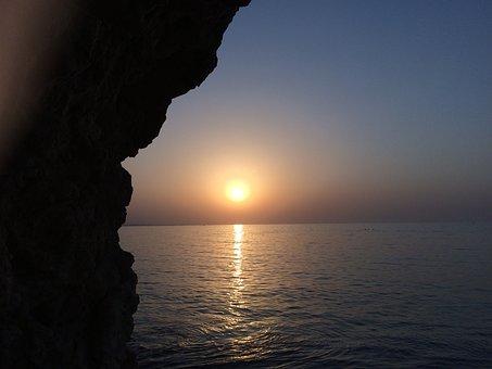 Sunset, Sea, Cliff, Sun, Sunlight, Silhouette, Horizon