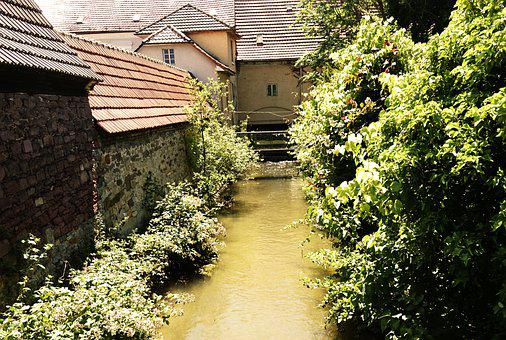 Creek, Houses, Village, Stream, Bach, Water, Trees