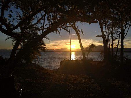 Ocean, Sunset, Sunrise, Forest, Trees, Mountains