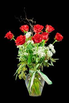 Mohan, Nannapaneni, Roses, Red, Vase, Arrangement