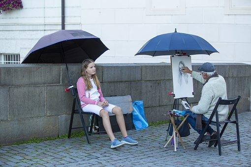 Artist, Sketch, Portrait, Girl, Young, Street, Umbrella