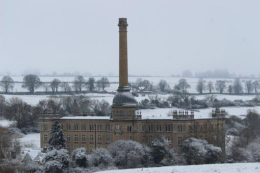 Bliss Tweed Mill, Building, Winter, Snow, Old Building