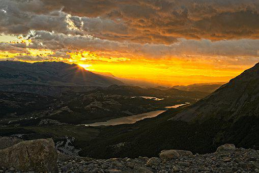 Mountains, Lake, Sunrise, Dawn, Sunlight, Sky, Clouds