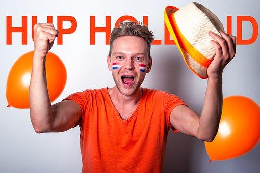 Man, Cheering, Holland, Portrait, Fan, Supporter