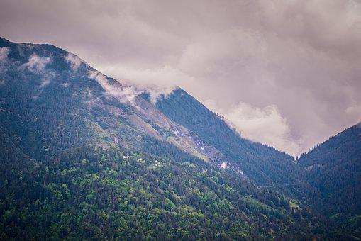 Mountains, Landscape, Clouds, Sky, Forest