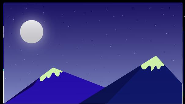 Mountains, Moon, Stars, Scenery, Sky, Atmosphere