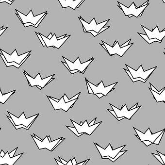 Crown, Pattern, Wallpaper, Gray, Prince, Princess, King