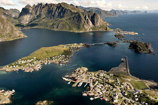Islands, City, Sea, Panorama, Town, Mountains, Fjords
