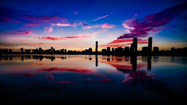 Twilight, City, River, Silhouette, Skyline, Sky, Clouds