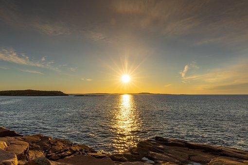 Sunrise, Sunset, Sea, Sun, Sunlight, Sky, Clouds