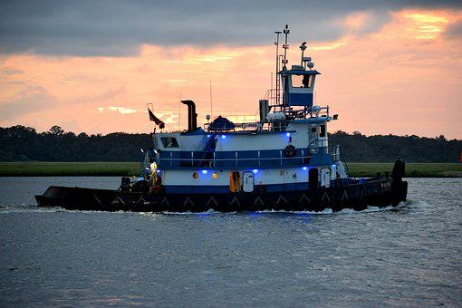 Tug Boat, Vessel, River, Early Morning, Transportation