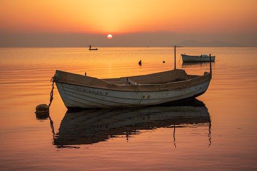 Boat, Sea, Sunset, Ocean, Sky, Nature, Water, Sunrise