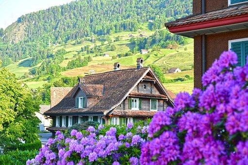 Village, Houses, Lauerz, Buildings, Mountain