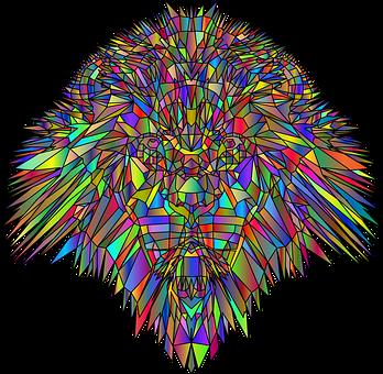 Lion, Head, Face, Geometric, Animal, Feline, King