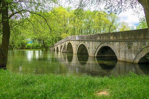 Bridge, River, Park, Grass, Water, Reflection, Trees