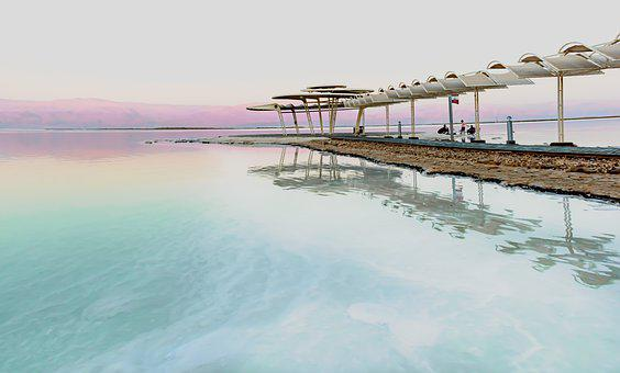 Dead Sea, Evening, Sunset, Sea, Beach, Scenery