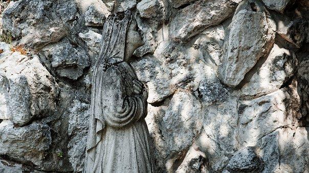 Stone Figure, Pray, Maria, Child, Holy, Church