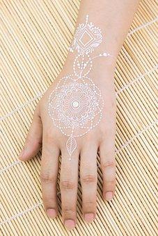 White Henna, Mehndi, Hand, Art, Body Art, Body Paint