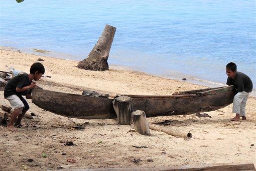 Wooden Sail Boat, Boys, Moving Boat