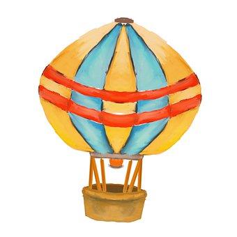 Hot Air Balloon, Blue, Yellow, Balloon, Sky, Colorful