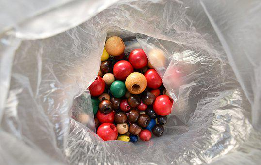 Wood Beads, Beads, Bag, Tinker, Colorful, Hobby