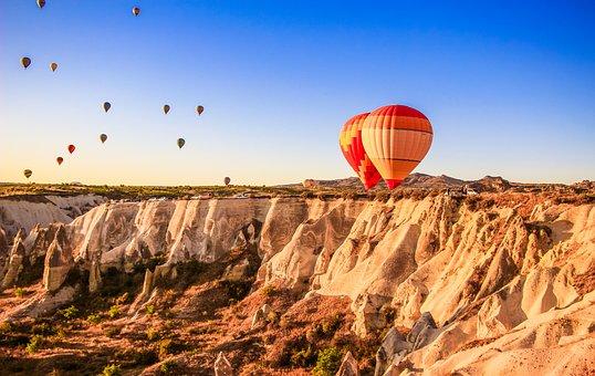 Hot Air Balloons, Mountains, Cappadocia