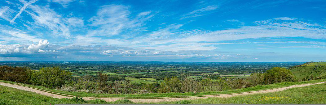 Ditchling Beacon, Landscape, Panorama, Hill, Valley