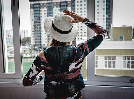 Woman, Window, Apartment, House, Girl, Hat, Home