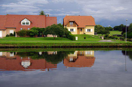 Houses, Town, River, Reflection, Water, Lake, Buildings