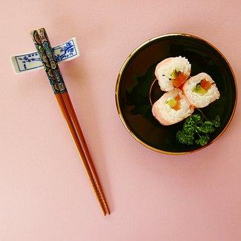 Food, Sushi, Chopsticks, Rice Rolls, Japanese Cuisine
