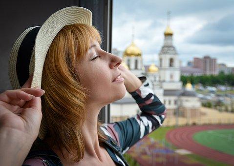 Woman, Window, Portrait, Girl, Hat, Face, Pose, Glass