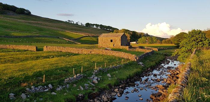 Hill, Field, River, Barn, Building, Stream, Rocks