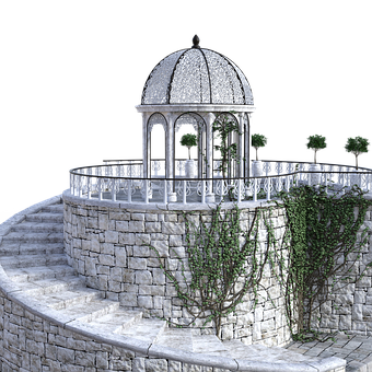 Pavilion, Stairs, Wall, Rotunda, Railing, Staircase