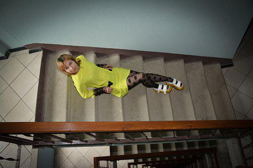Woman, Portrait, Stairs, Railings, Flight Of Stairs