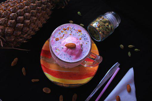 Strawberry, Ice Cream, Food, Dessert, Cup, Almond, Nut