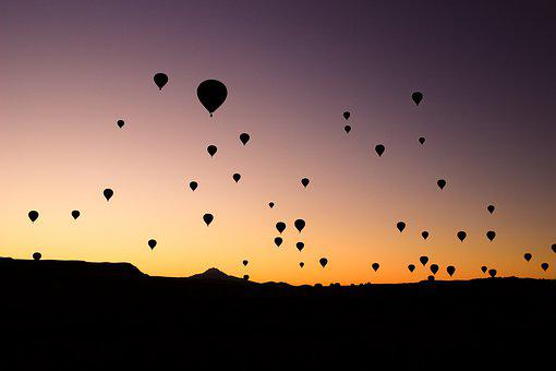 Hot Air Balloons, Cappadocia, Sunset, Silhouettes