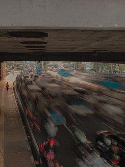 Traffic, City, Long Exposure, Vehicles, Transportation